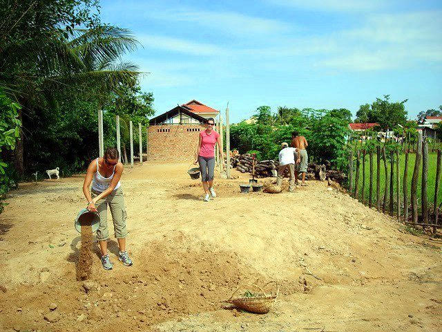 Leveling ground for a future classroom in Cambodia
