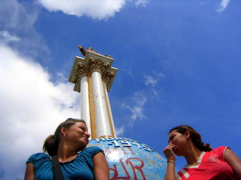 Tamera and Aydalina at a monument in Aydalina's home town of Ocotal.
