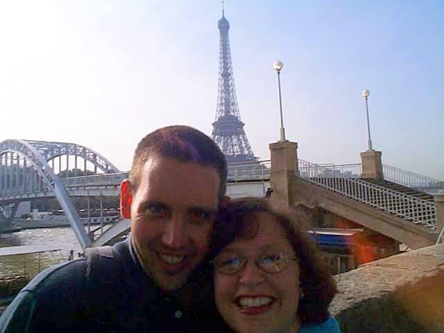 In front of Paris's Eifel Tower.