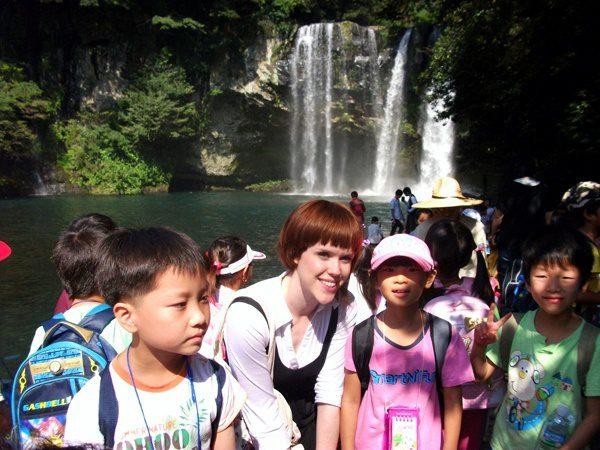 students (and a waterfall!) in South Korea