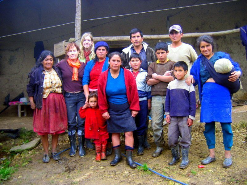The family in Peru for whom Jacquie's students built a stove.