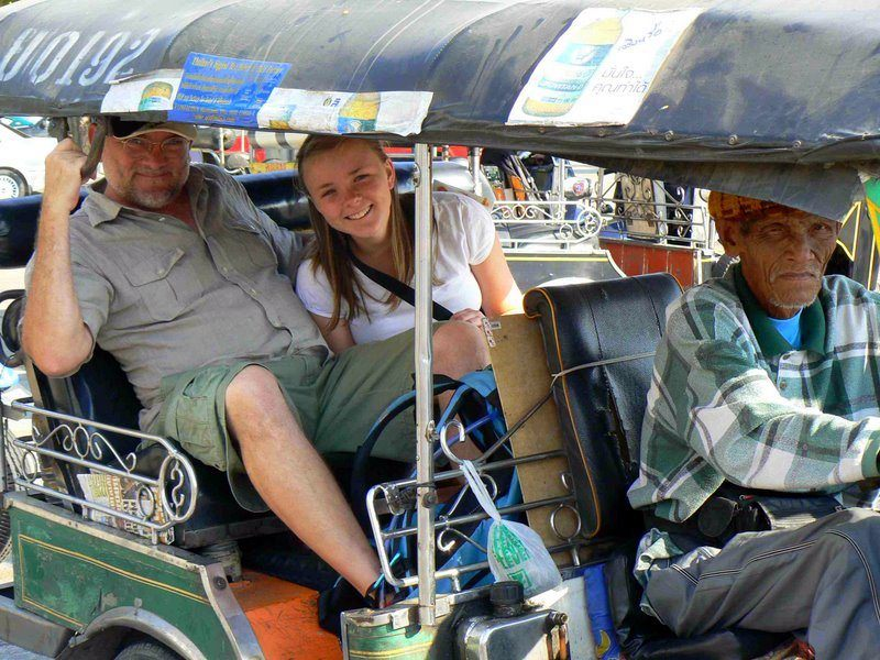 Randy and daughter in a tuk tuk in Chiang Mai, Thailand.