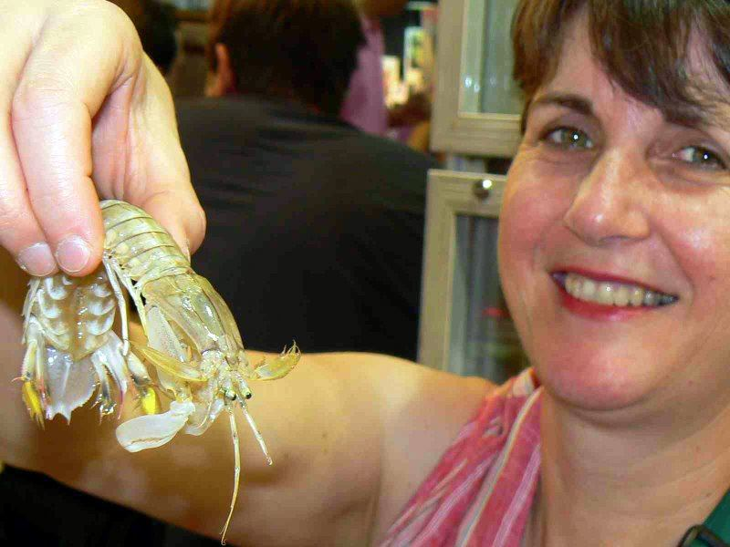 Randy's wife and a delectable Mantis Shrimp.