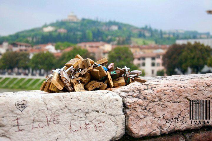 """""""Love Locks"""" in Verona, Italy."""