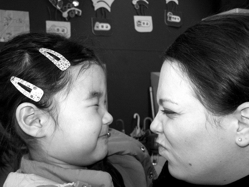 Goofing around with a 1st grader in South Korea.