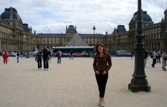 Outside the Louvre Museum in Paris, France.