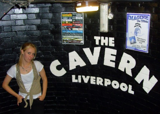 "At the Liverpool, England ""Cavern"" where the Beatles played."