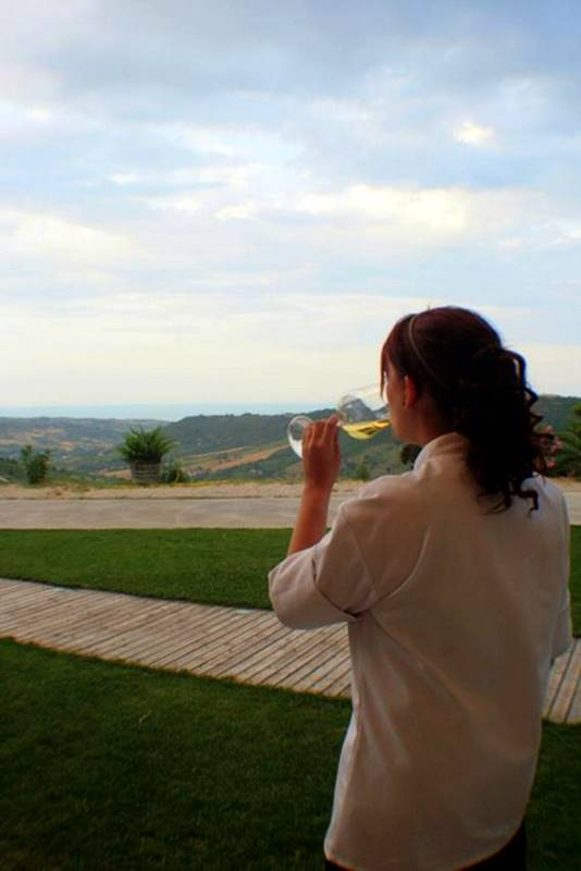 Sipping wine at the source at La Caniette Vineyard.