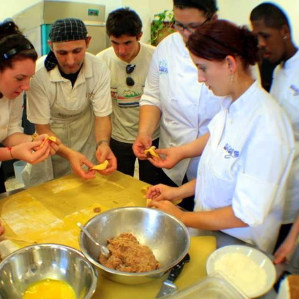 Making tortellini with Italian host chef Sandro Capecci!
