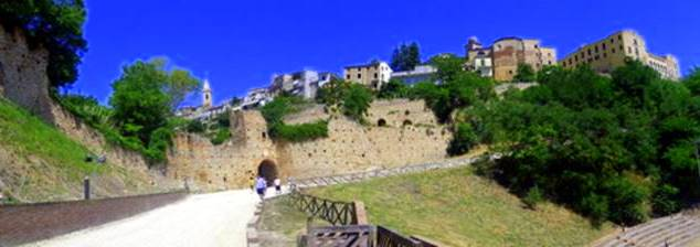 The walled city of Ripatransone, Italy seen from the amphitheater. The top right was the cooking exchange's residency!
