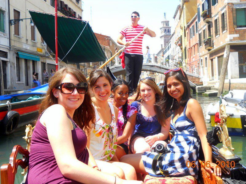 Angela and friends in a gondola in Venice, Italy.