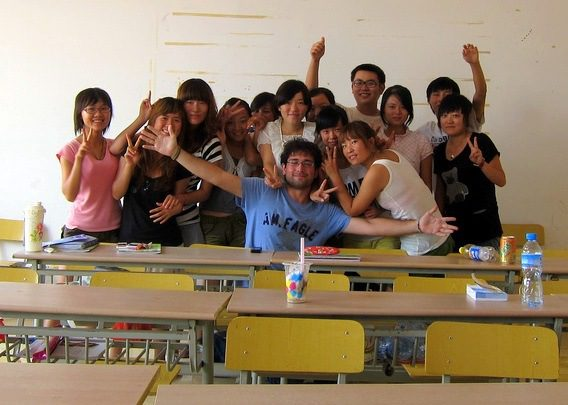 A happy class of Michael's students in Xi'an, China.