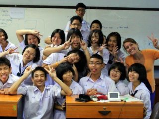 Sarah with her extremely serious students in Thailand!