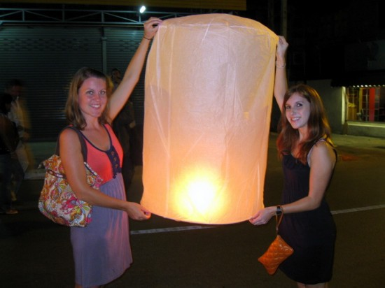 Sarah and a beautiful Thai lantern.