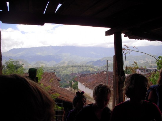 A view of Chajul and surrounding mountains from a local home.