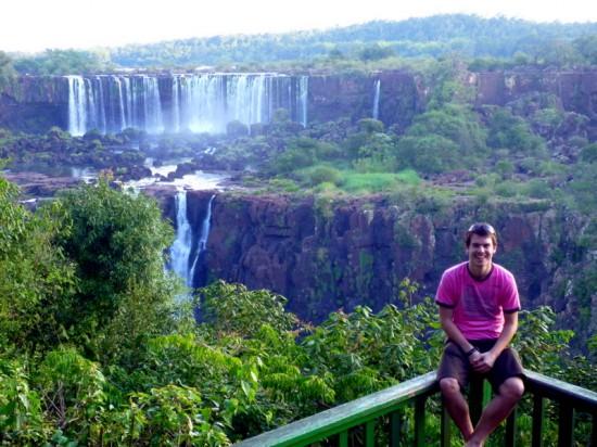 Tom at thundering Iguazu Falls, Brazil!