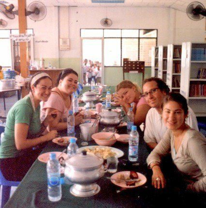 The volunteers happily eating at the homestay.