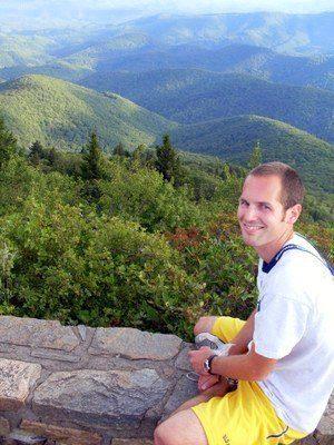 During Evan's Duke Program in the Appalachian Mountains.