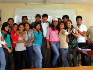 Krishna with English students in Ecuador.
