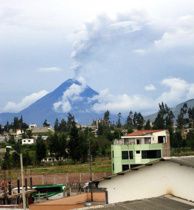 View of the active volcano, Tungurahua, from Krishna's classroom.