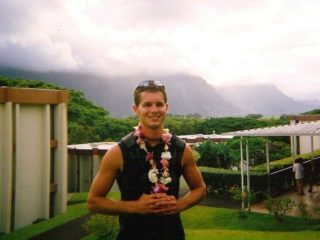 Evan, Working in Hawaii, lei and all!