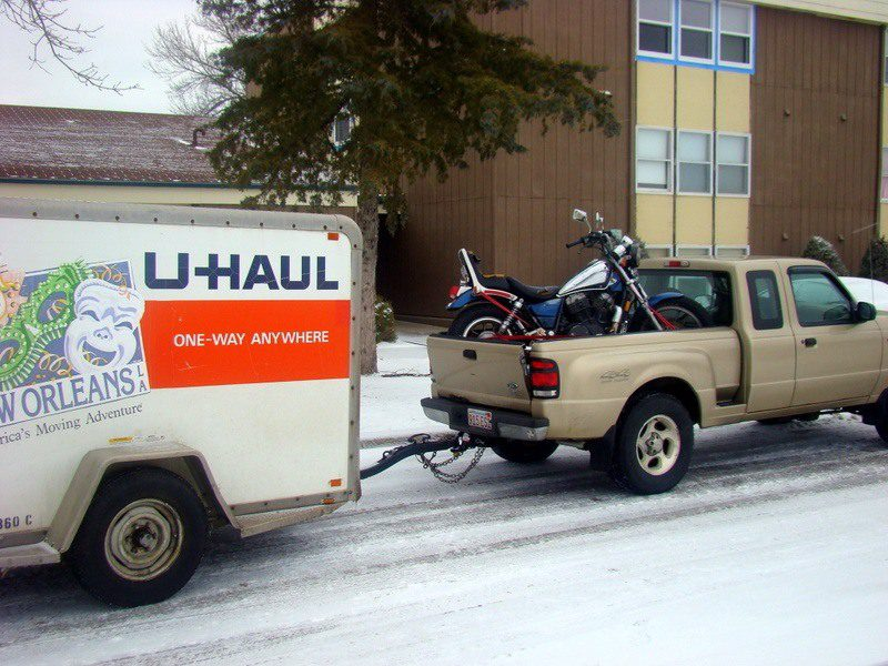 Mark's truck, bike, and trailer full of stuff on moving day, March 2011.
