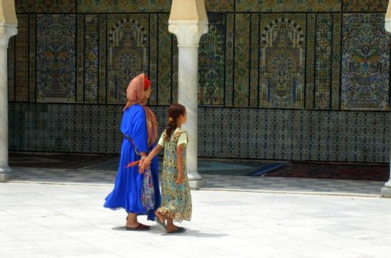 A mother and daughter in beautiful Tunisia.