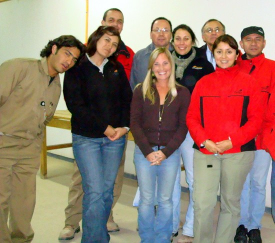 Alisha with her happy students in Chile.