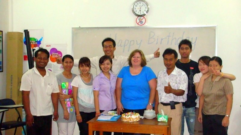 One of Nikki's classes in Cambodia... with a birthday cake!