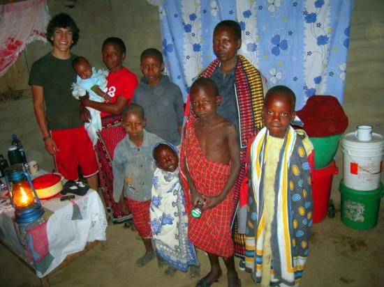 Volunteer Dan with his host family in Tanzania.