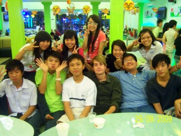 Will with his ESL class in a Saigon, Vietnam cafe.