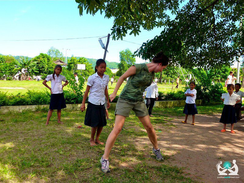 Playing Elastics With Some Schoolgirls In Cambdia.