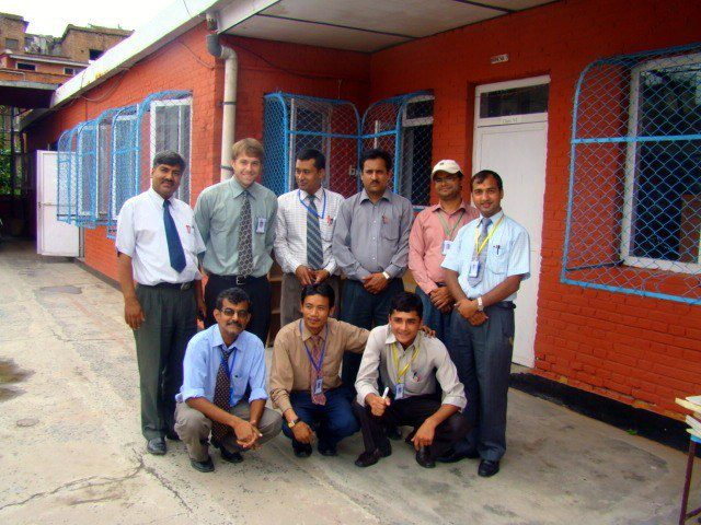 Jacob and his fellow teachers on his last day of classes in Nepal.