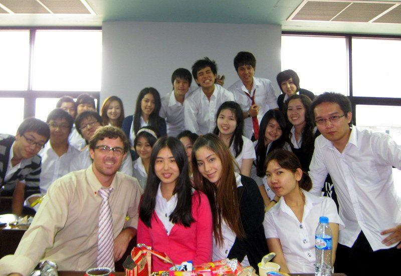 Mike and one of his English 4 conversation classes in Bangkok. Everyone passed... and PowerKicK'd!
