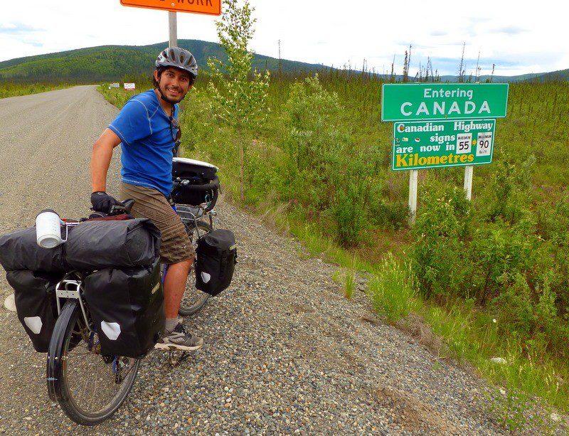 Biking from Tok to Skagway: entering Canada from Alaska.