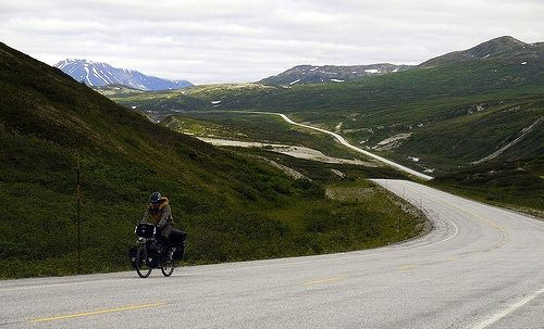 Haines Highway, winding from Alaska through Canada.