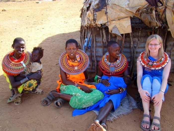 Visiting a Kenyan Masai Village in the Samburu region. They offered Lisa some fresh goat's blood, which she politely declined.