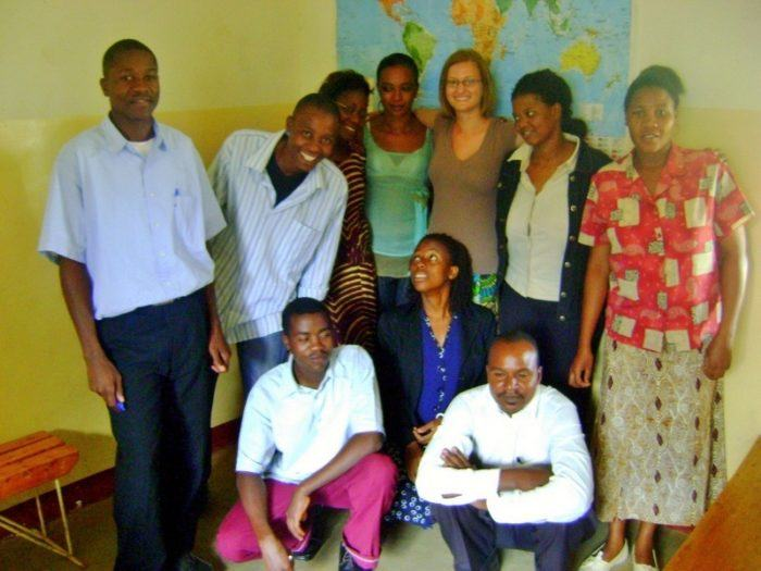 "Lisa's students in Moshi, Tanzania. Lisa says: ""Teaching adults is truly rewarding. They were so eager to learn and insisted I was a good teacher even though I didn't know what I was doing!"""