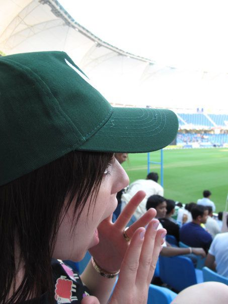 Supporting Pakistan at the Dubai Cricket Ground.