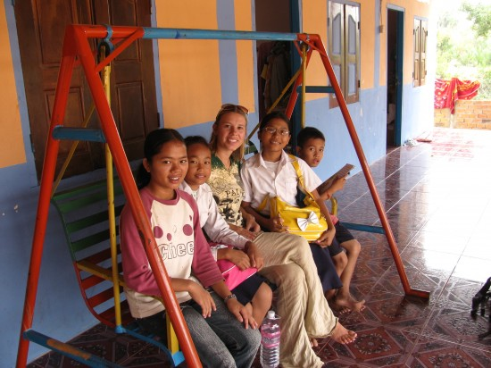 Robin with children at the orphanage in Cambodia.