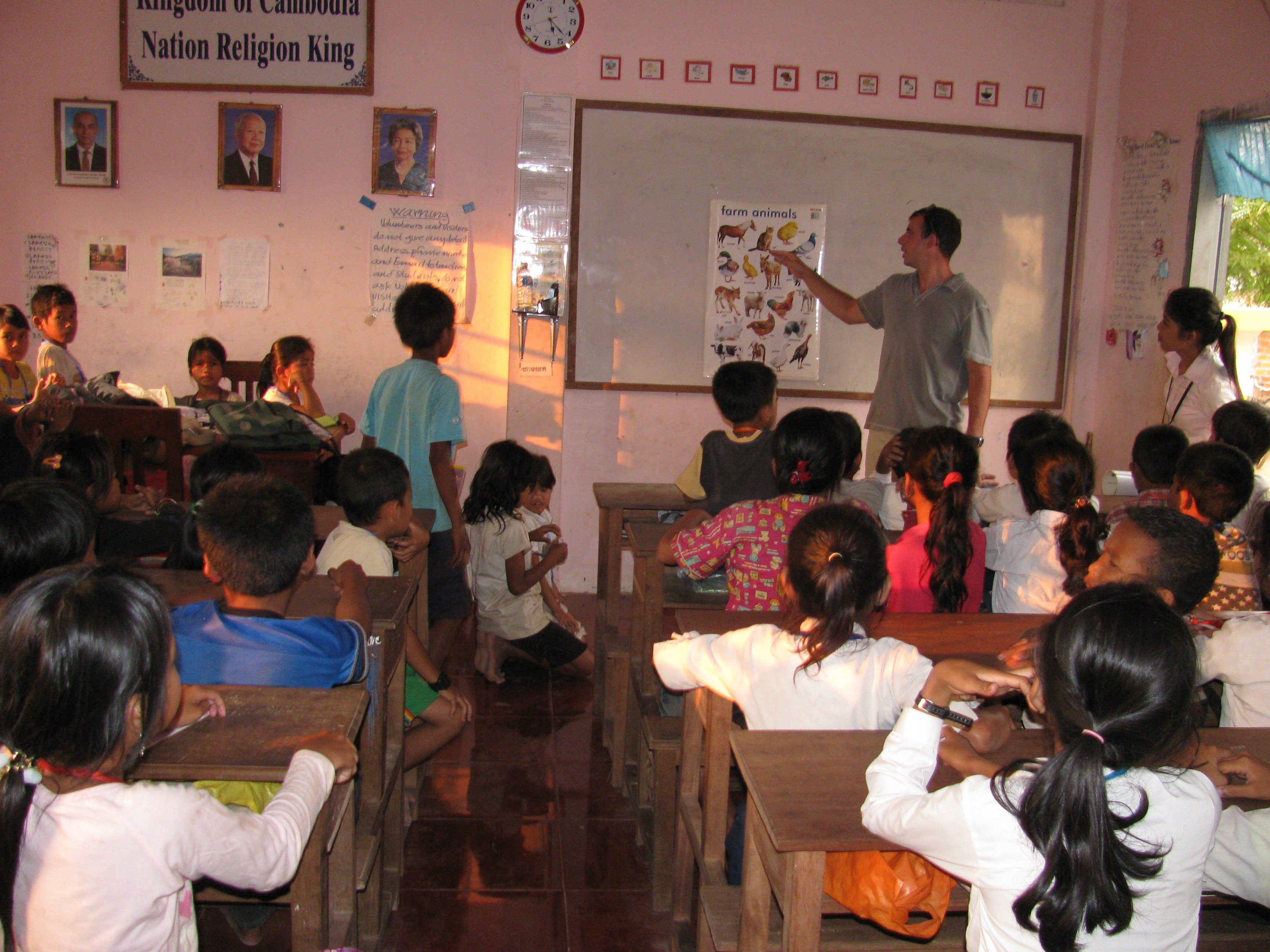 Tim teaching in the orphanage in Cambodia.