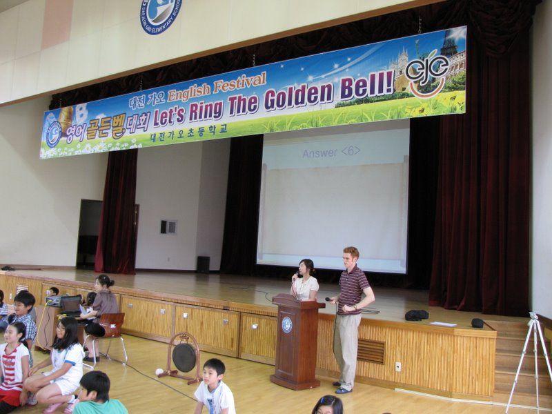 Samuel teaching English in South Korea.