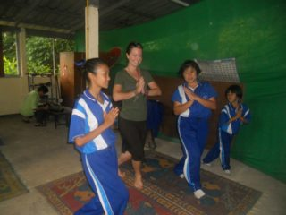 Britany with her students in Thailand, in action!