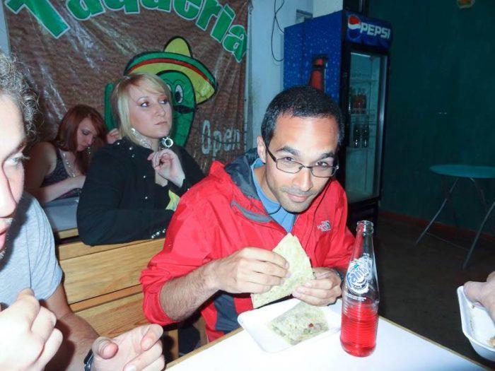 Eating a cow tongue sandwich in Guatemala. Yum!