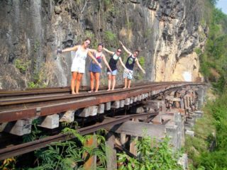High on the railway in Kanchanaburi created by slave labor.