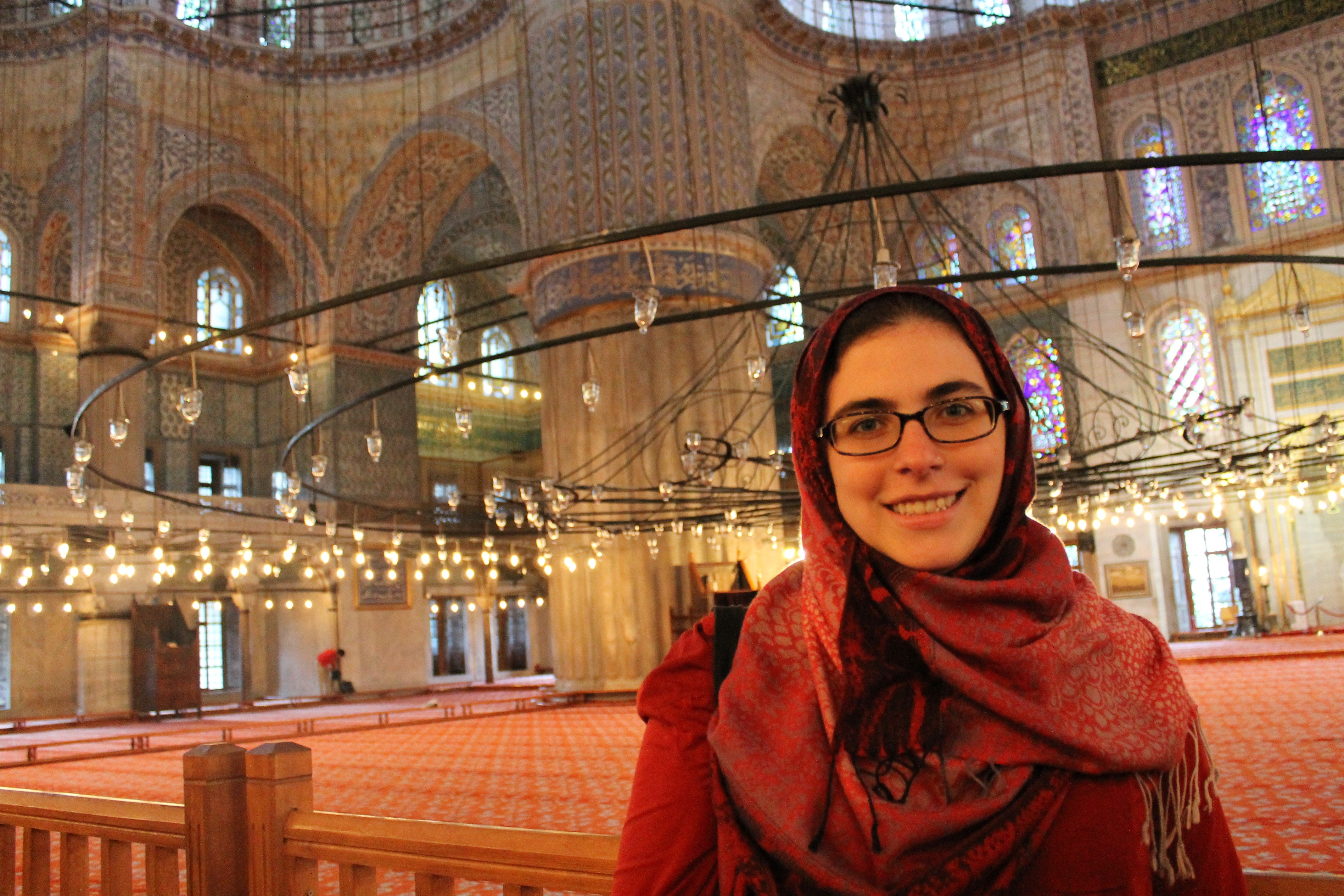 Delia in the Blue Mosque in Istanbul, Turkey.