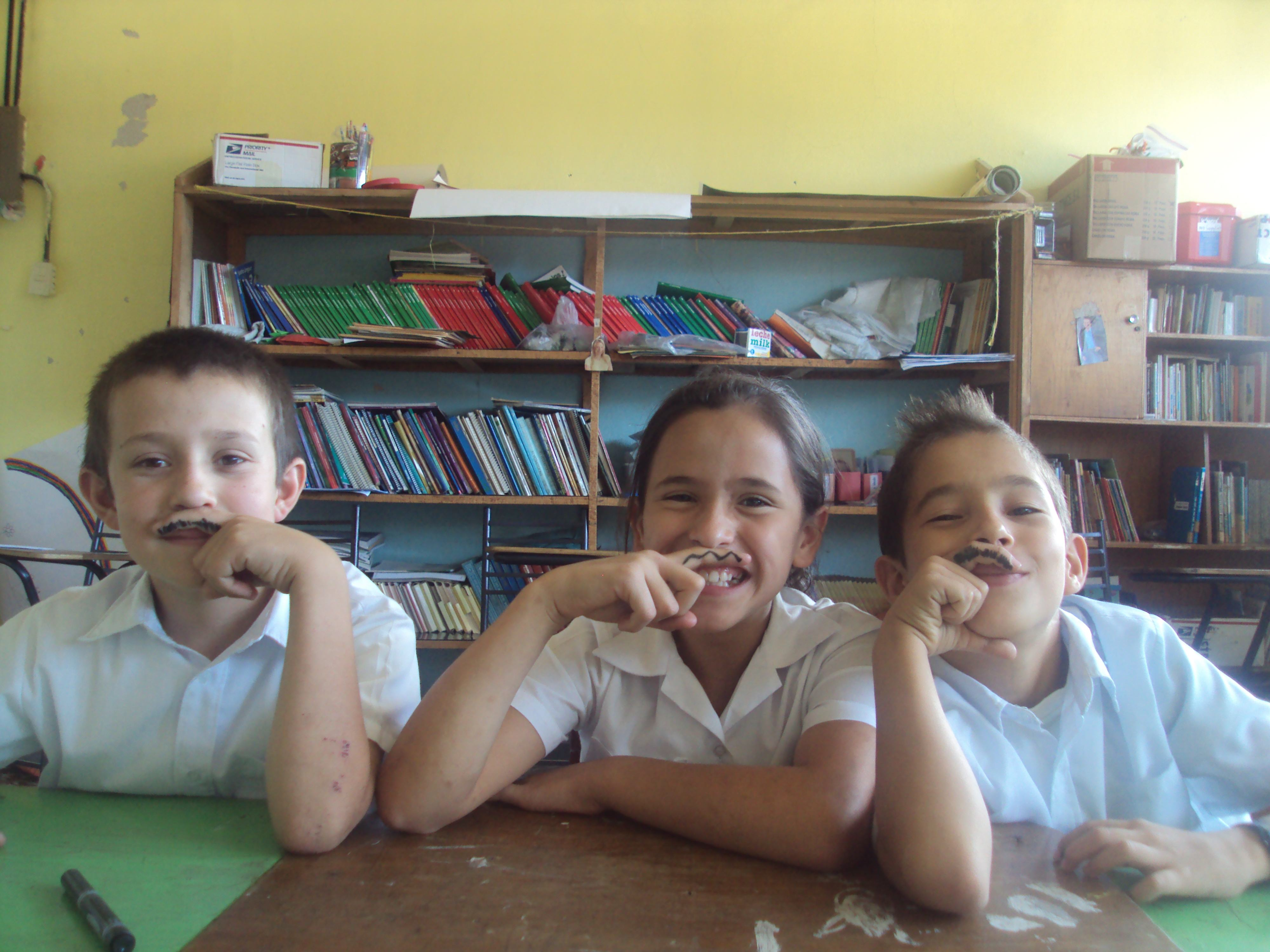 """""""I have a mustache!"""" 4th grade students learning to describe people."""