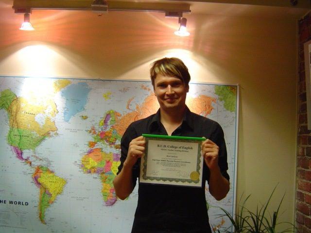 Bret, a proud graduate of Eliane's TESOL course!