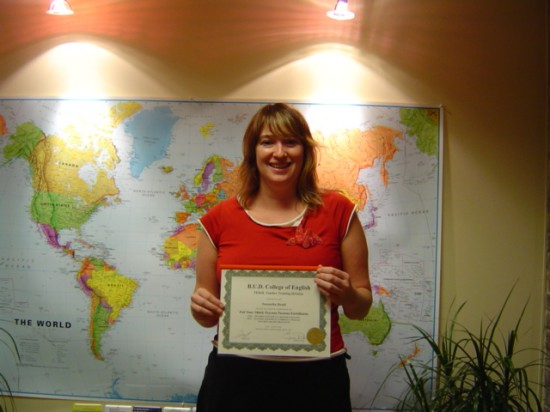 Sam, a proud graduate of Eliane's TESOL Program.