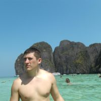 John at Maya Bay in Thailand's heavenly islands.